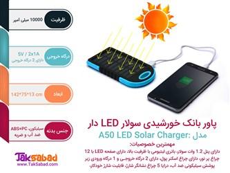اینفوگرافی پاور بانک خورشیدی سولار LED دار