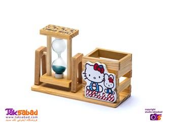 جاقلمی رومیزی چوبی hello kitty