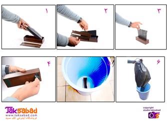مراحل استفاده از جا کیسه زباله TS