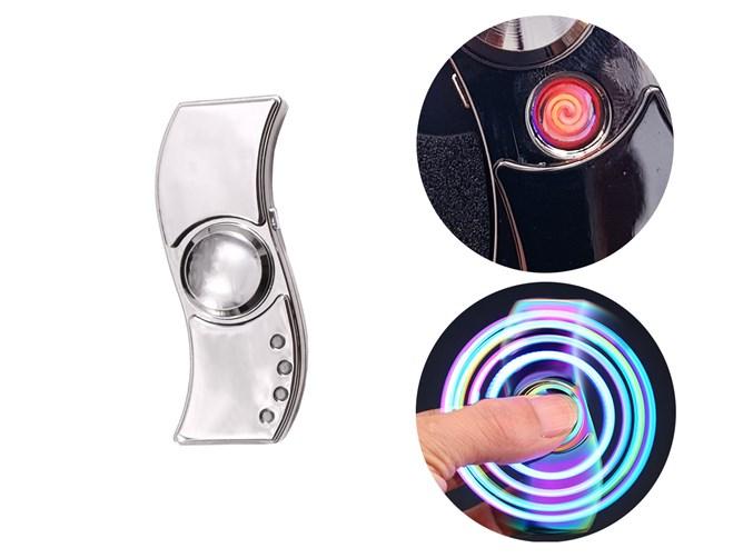 فندک اسپینر چراغ دار شارژی | Metal Fidget Spinner LED Lighter