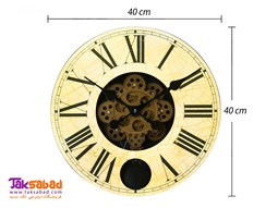ساعت دیواری چوبی طرح چرخ دنده