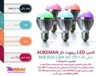 اینفوگرافی لامپ LED ریموت دار AOKEMAN