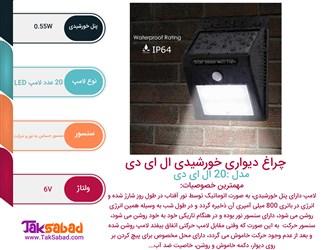 اینفوگرافی لامپ ال ای دی خورشیدی دیواری