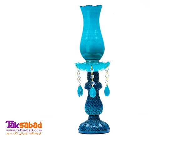 BLUE LEATHER CANDLE STICK